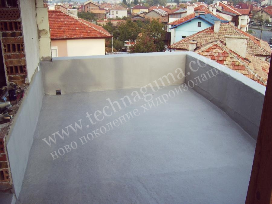 Waterproofing of terrace new construction with liquid rubber for Terrace waterproofing